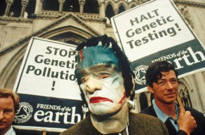 Robin Maynard taking action against GM crops outside High Court in 1998
